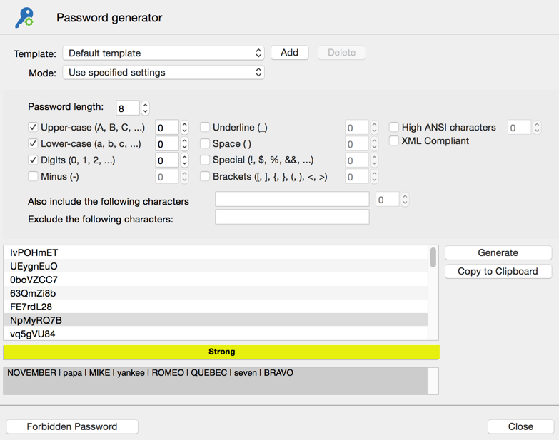 Password generator - Use specified settings