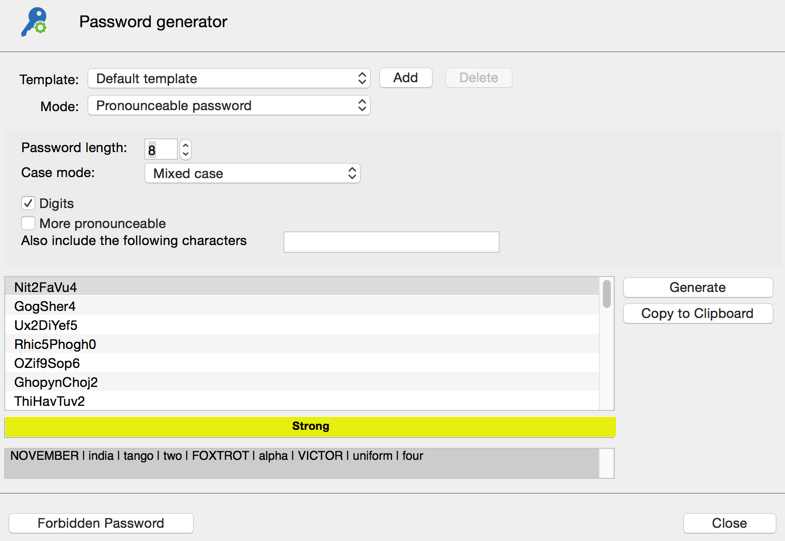 Password generator - Pronounceable password