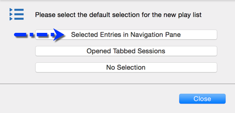 Selected Entries in Navigation Pane