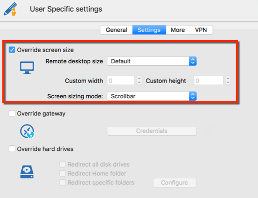 User Specfic settings - Override screen size