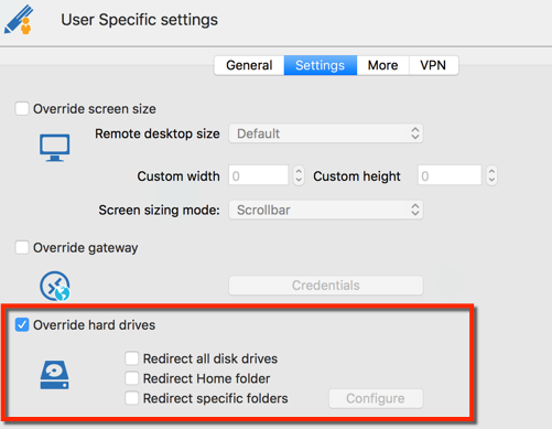 User Specific settings - Override hard drives