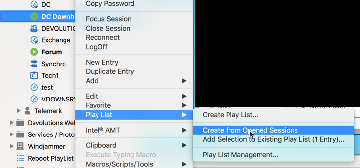 Play List - Create from Opened Sessions