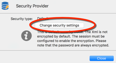 Security Provider - Change security settings