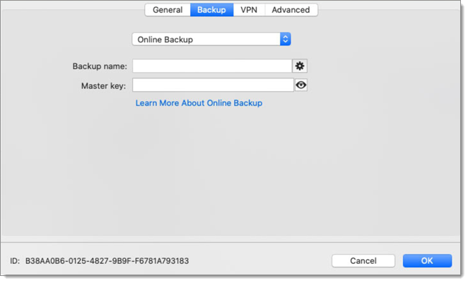 Online Drive - Backup Configuration